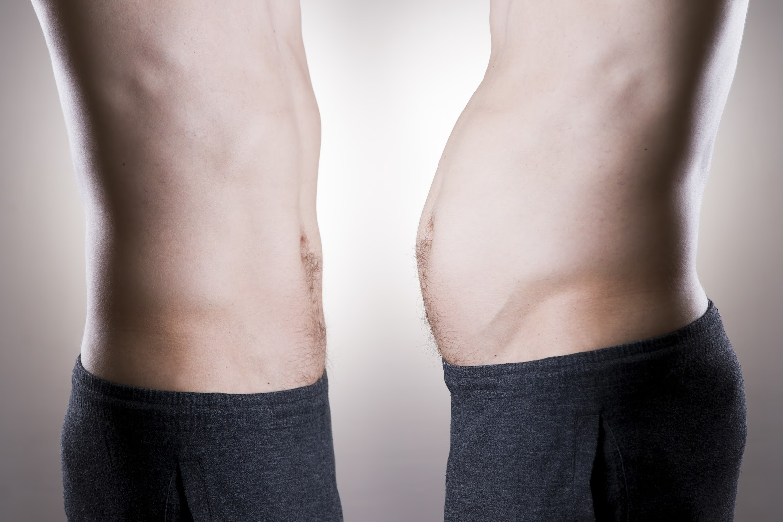 Man before and after weight loss. Fat and slim body on a gray background